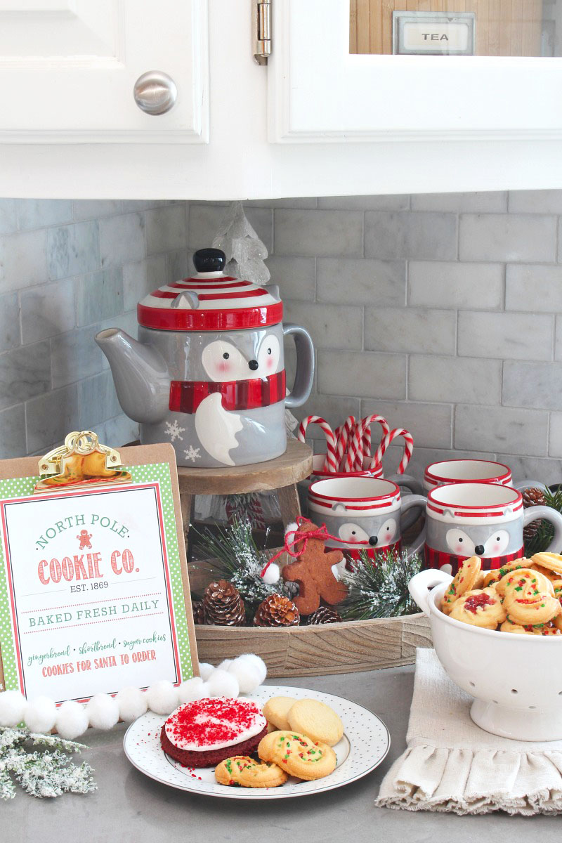 Christmas hot chocolate bar with cute North Pole Cookie Co. free Christmas printable.