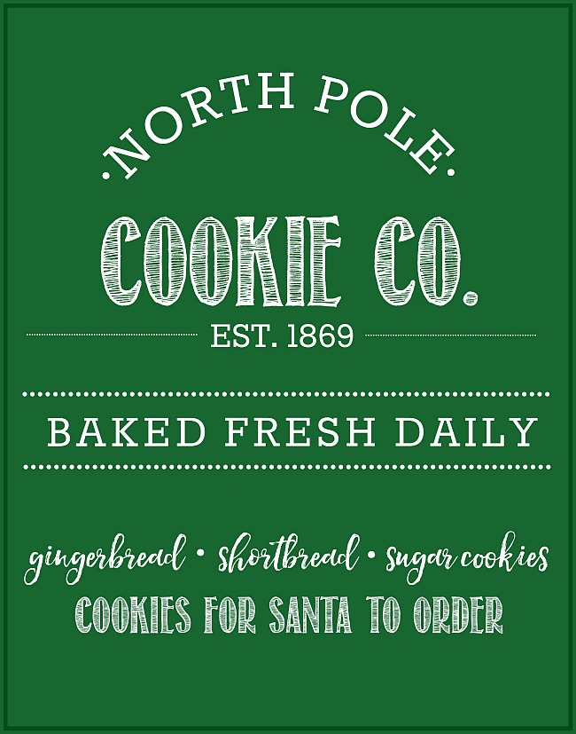 North Pole Cookie Co. Free Christmas Printable. Lots of different color options available to go with any style or decor. Fun for Christmas decorating, Christmas parties or cookie exchanges! #Christmasprintables #Christmasdecorating #Christmascookies