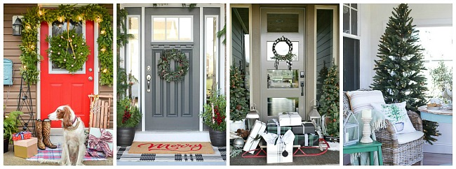 Lots of beautiful Christmas front porch ideas! Easy ideas that anyone can do!