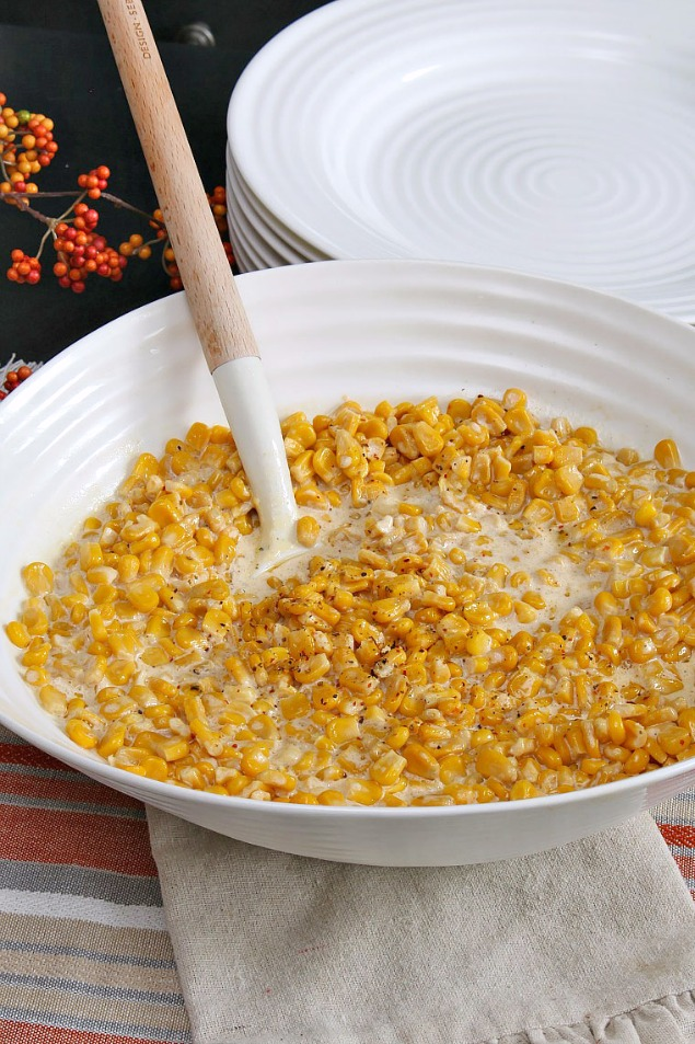 This slow cooker creamy corn makes the perfect holiday side dish.  So good with turkey and stuffing!