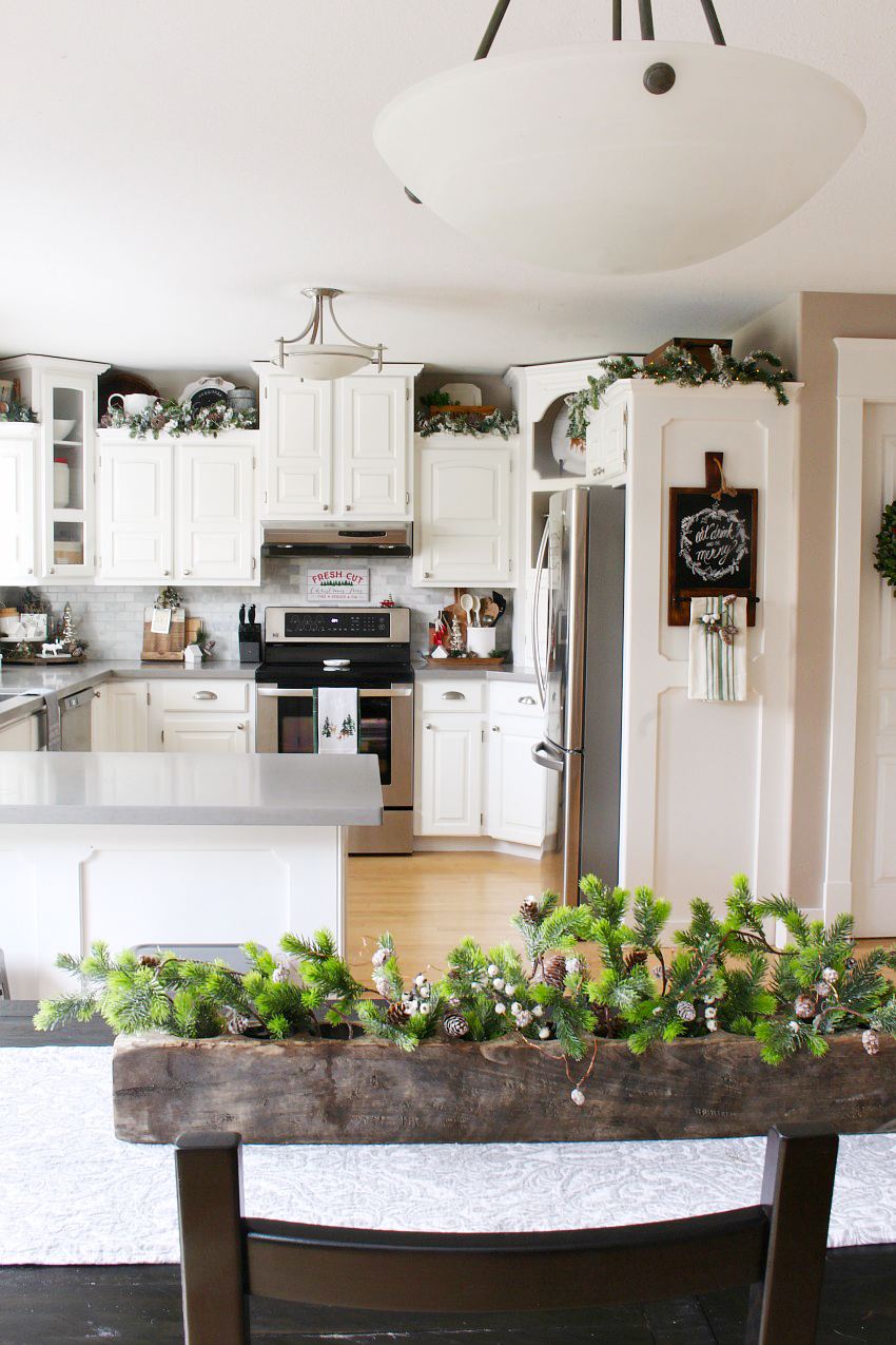 Redecoration Ideas Kitchen Christmas Decorations. White kitchen dressed in frosted greens for  a festive touch.