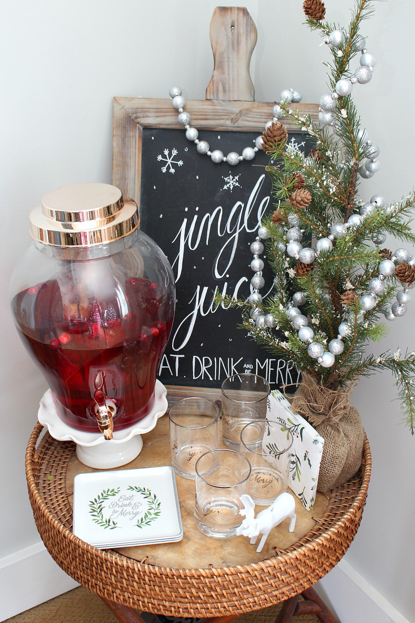 Cute little drink bar with Christmas chalkboard art.