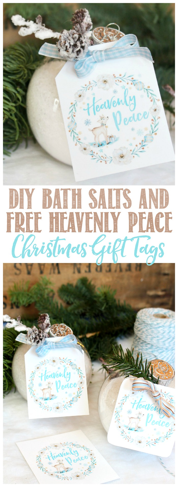 DIY Bath Salts Christmas Gift Idea and Free Heavenly Peace Christmas Gift Tags