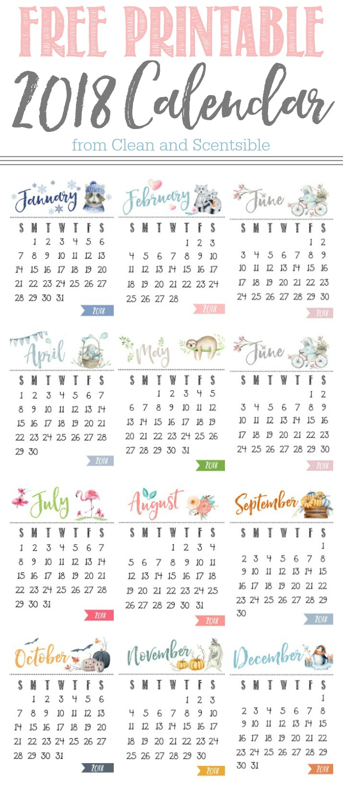 Delightful Cute Free Printable 2018 Calendar. Display On A Wood Stand, Clipboard,  Photo Frame