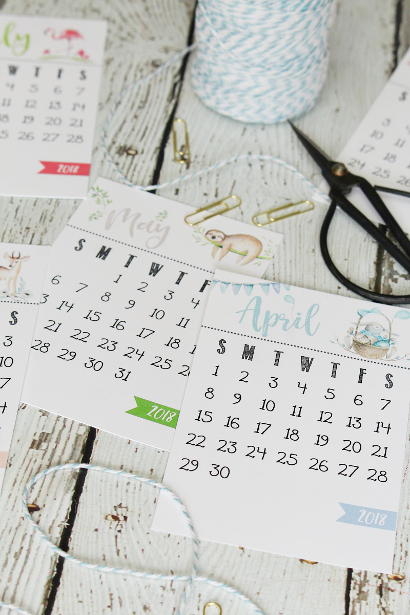 Cute free printable 2018 Calendar. Display on a wood stand, clipboard, photo frame and more! Keep organized for 2018!