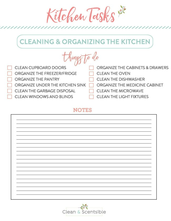Free printable to help get the kitchen cleaned and organized.