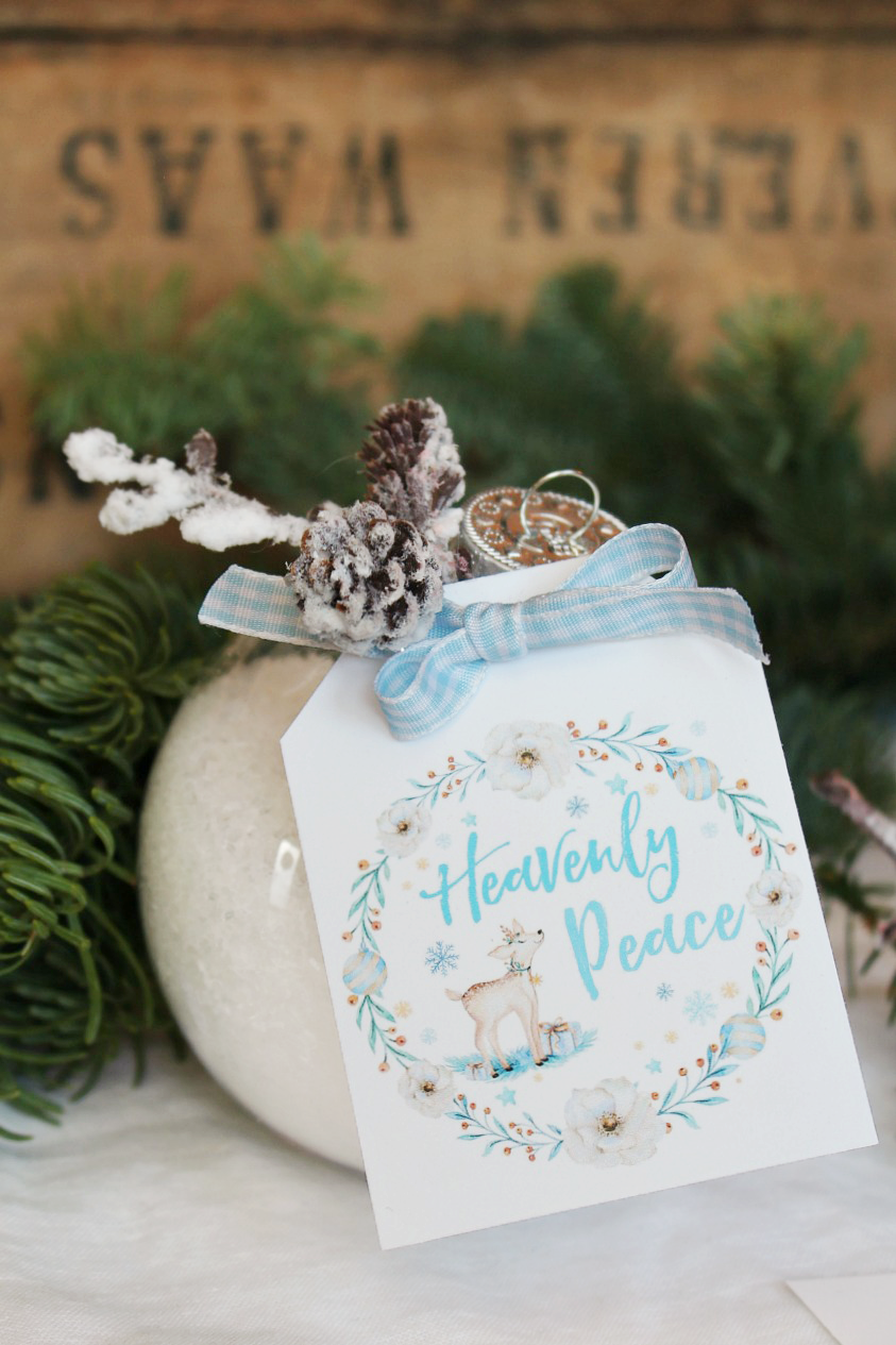 "DIY bath salts in a clear Christmas ornament with free ""Heavenly Peace"" tag. Such a cute Christmas gift idea!"