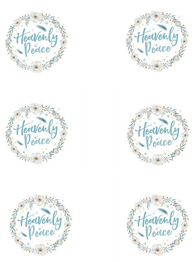 "Free printable ""Heavenly Peace"" Christmas tag."