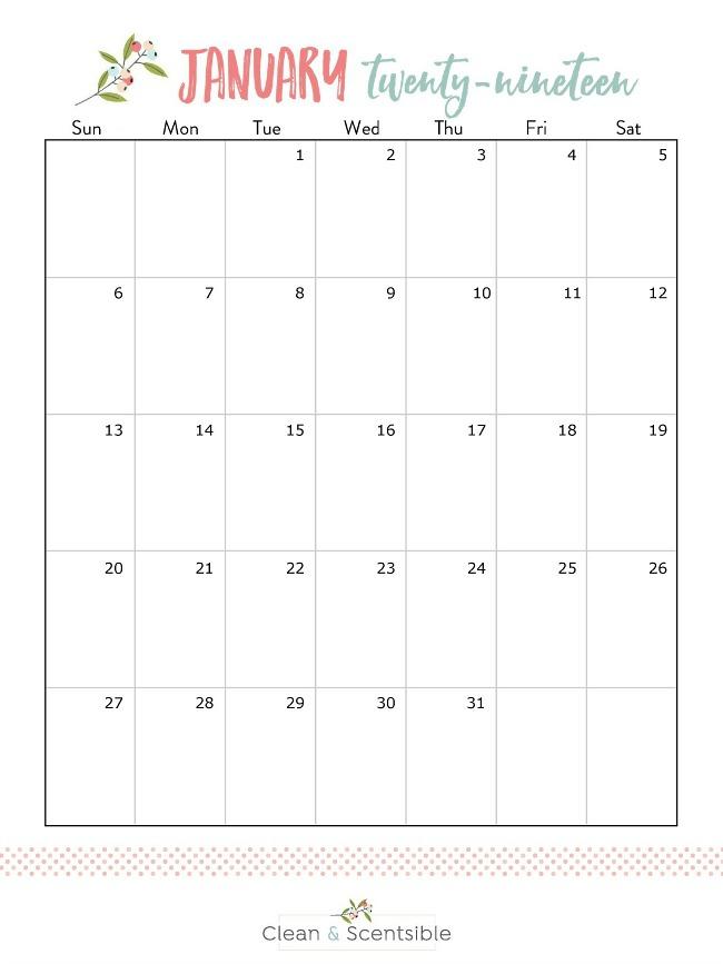 January 2019 free printable calendar.