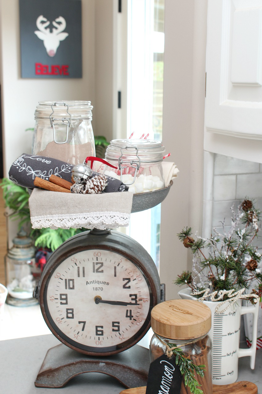 Kitchen Christmas Decorations with cute hot chocolate bar.