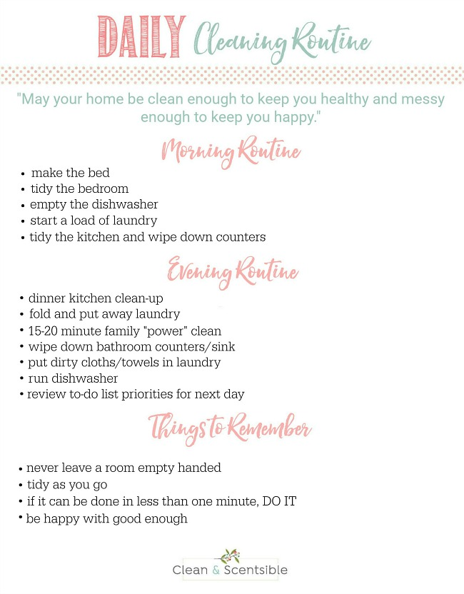Great ideas for establishing {and sticking!} to a daily cleaning routine. Decrease your time spent cleaning and increase your productivity. Free printable included.