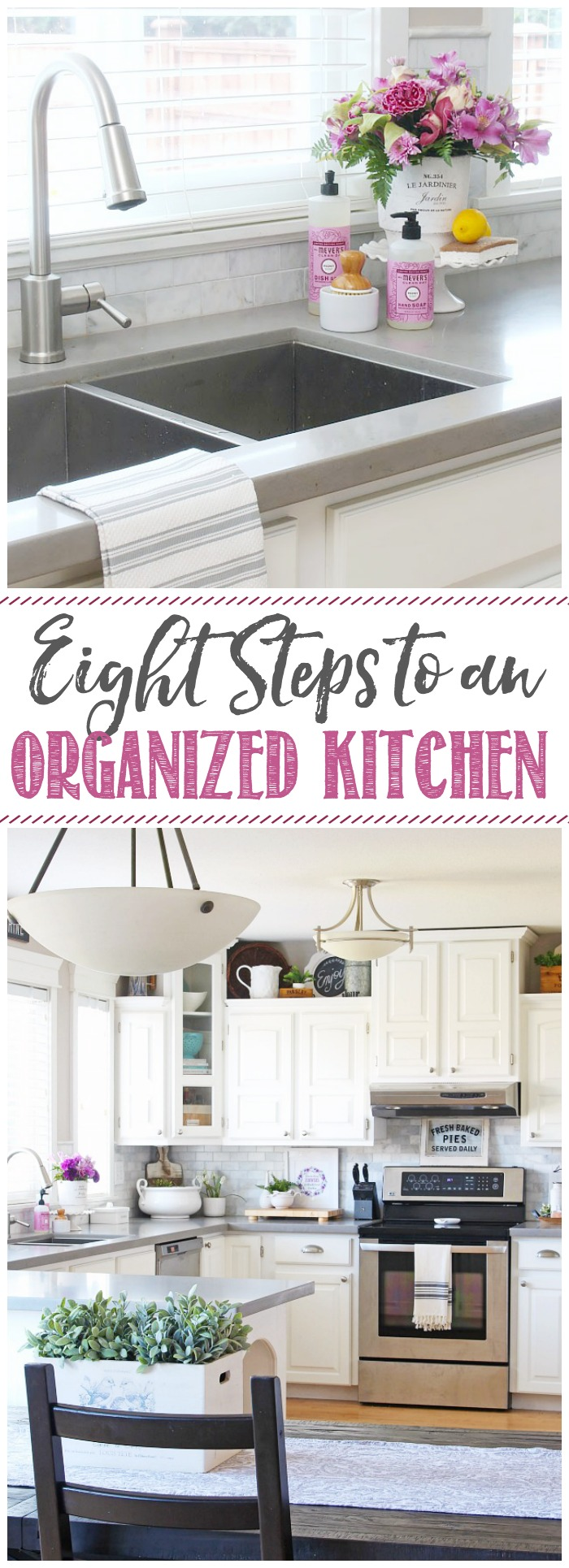8 steps to an organized kitchen. Once you get the proper systems in place, it takes very little maintenance to keep it that way!