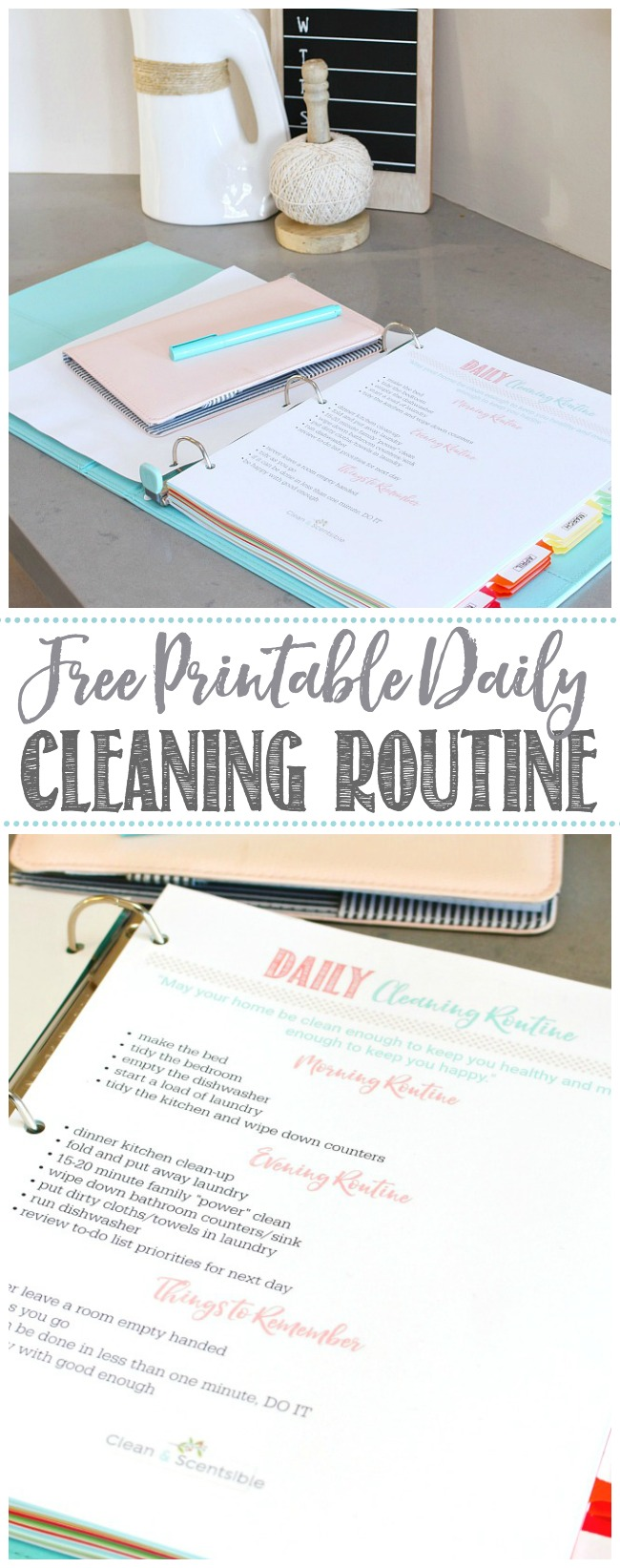 Free printable daily cleaning routine.  Ready to download and print!