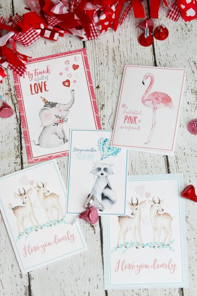 Collection of beautiful watercolor free printable Valentine's Day cards.