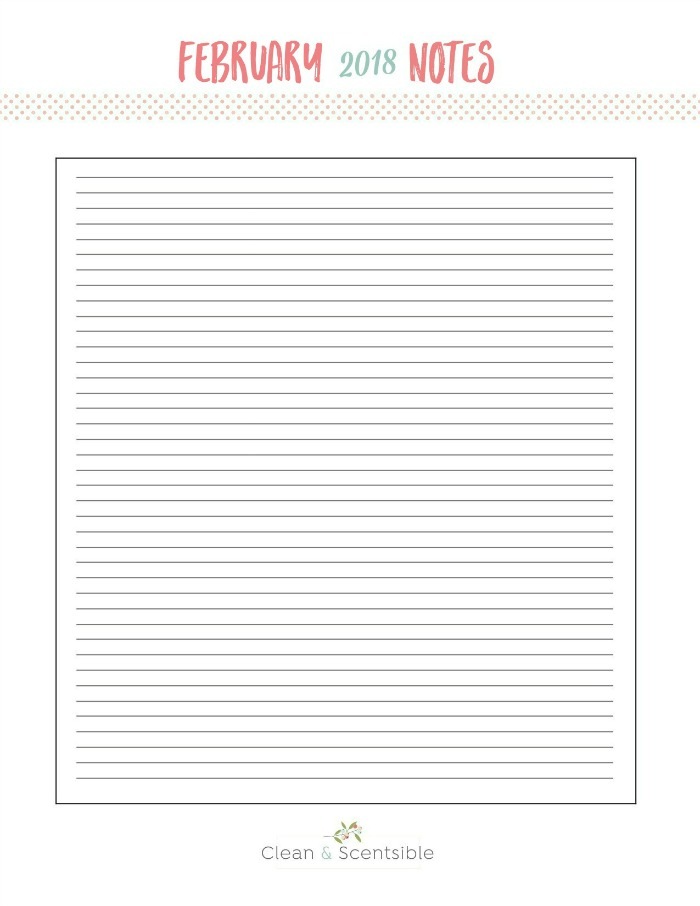 Blank notes worksheet for The Household Organization Diet.