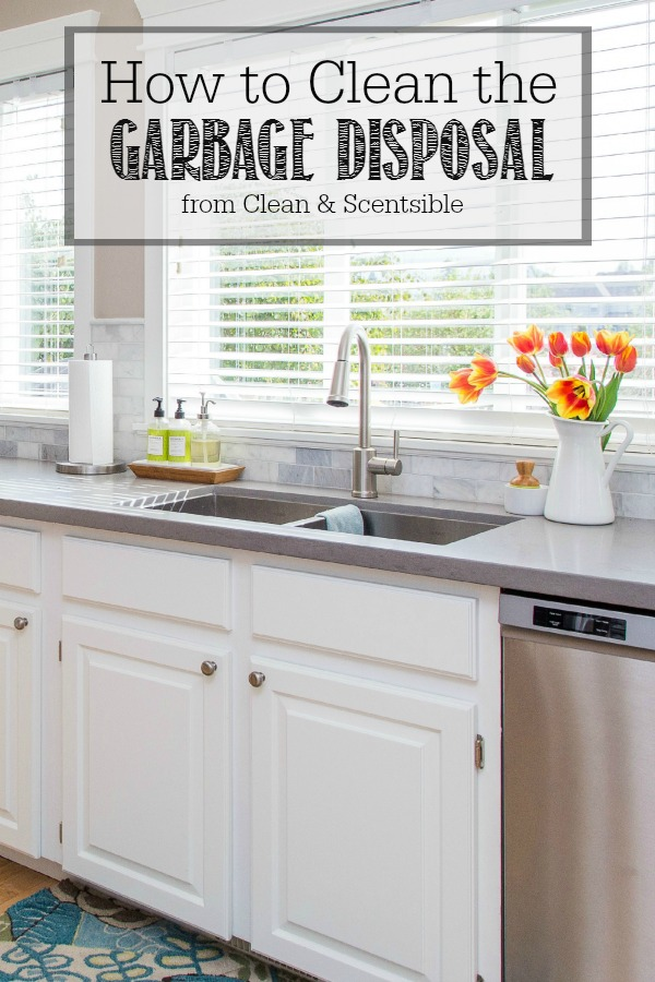 How to clean the garbage disposal. Kitchen sink and garbage disposal in a white farmhouse style kitchen.