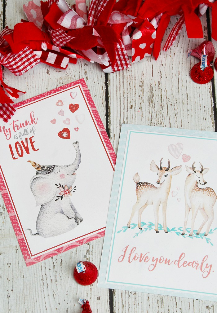 Watercolor free printable Valentine's Day cards.