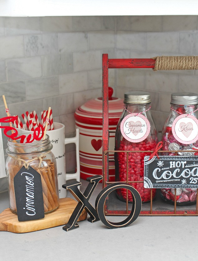 Cute Valentine's Day Hot Chocolate bar with free printable labels.