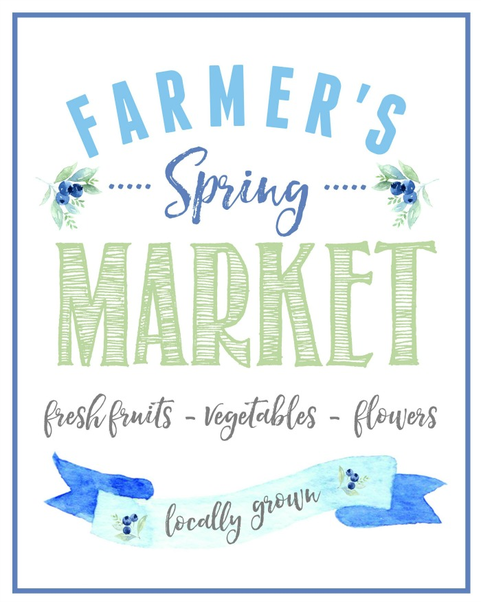 Farmer's Spring Market farmhouse style free printables.