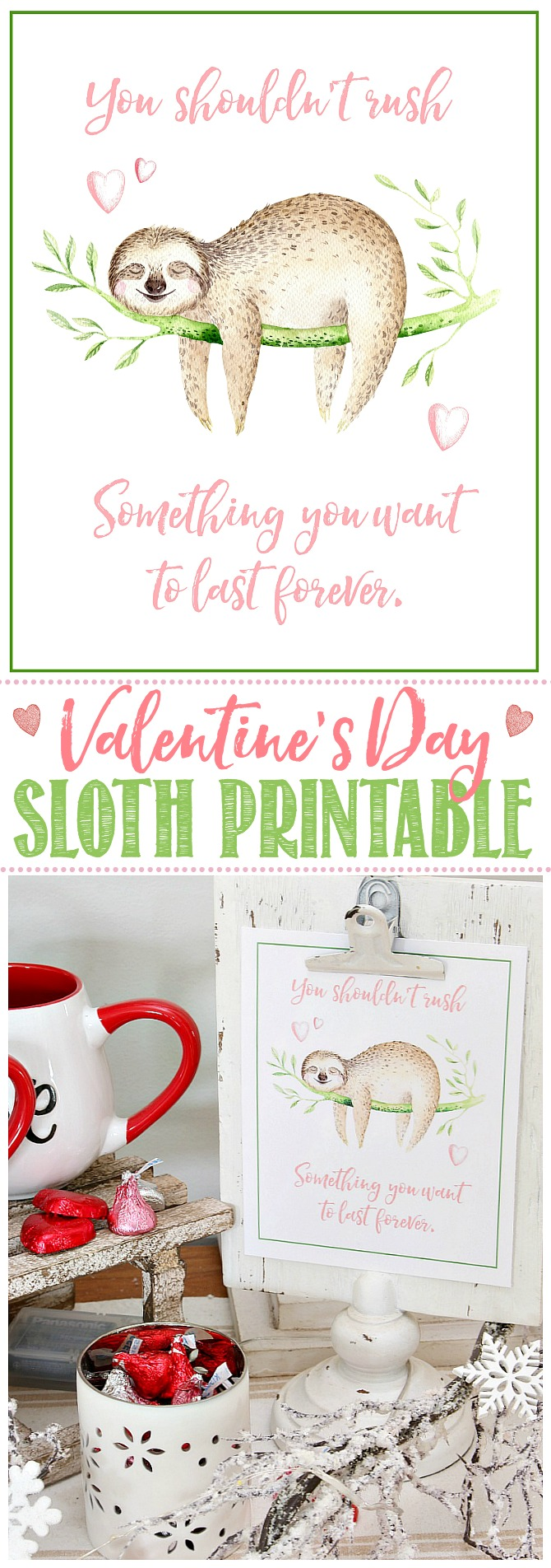 Cute sloth printable for Valentine's Day!