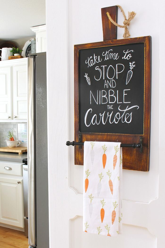 Cute Easter chalkboard and carrot towel.
