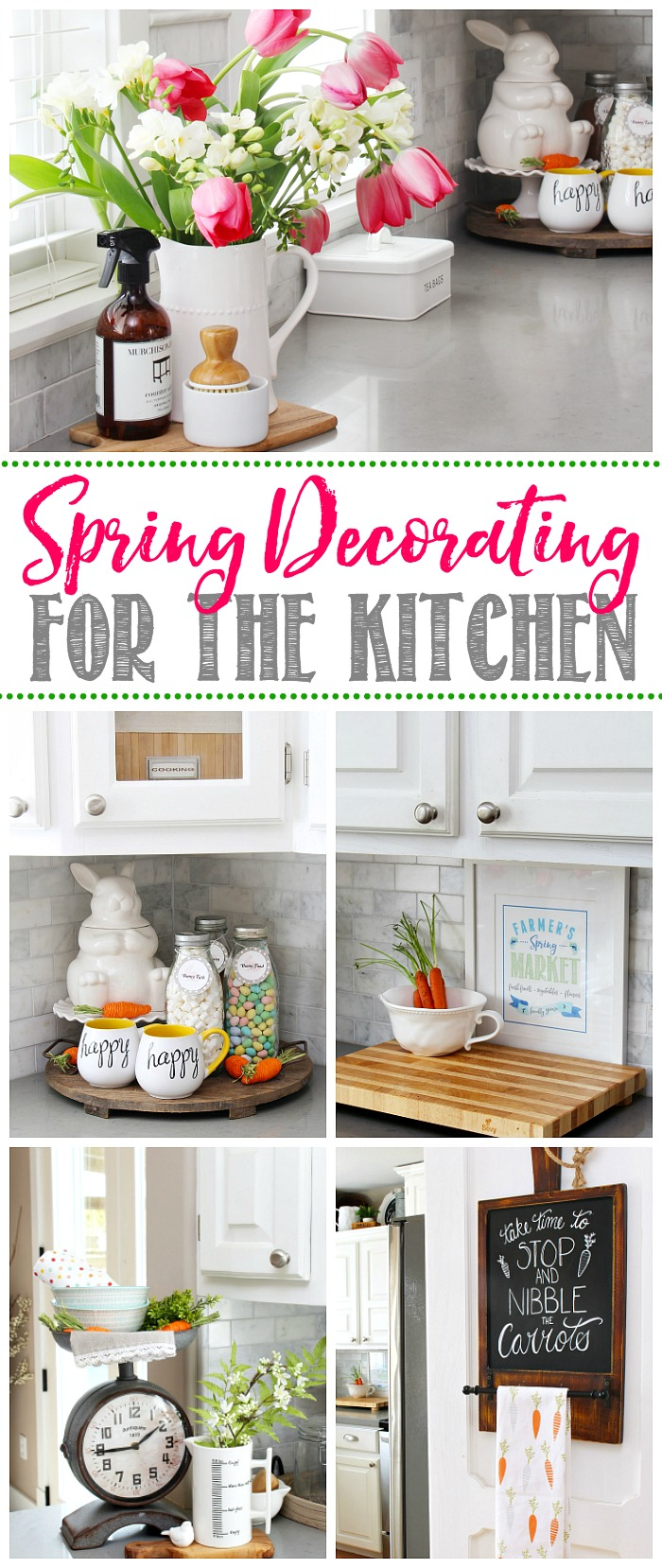 Farmhouse style white kitchen decorated for spring.