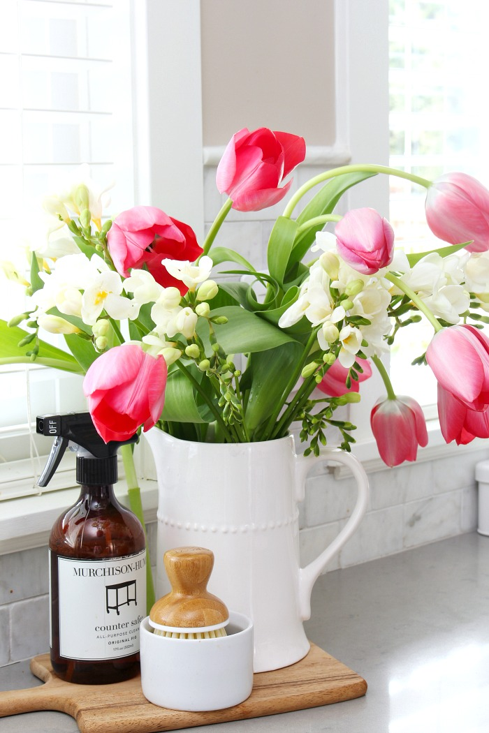 Tulips and freesia. Pretty spring decorating in the kitchen.