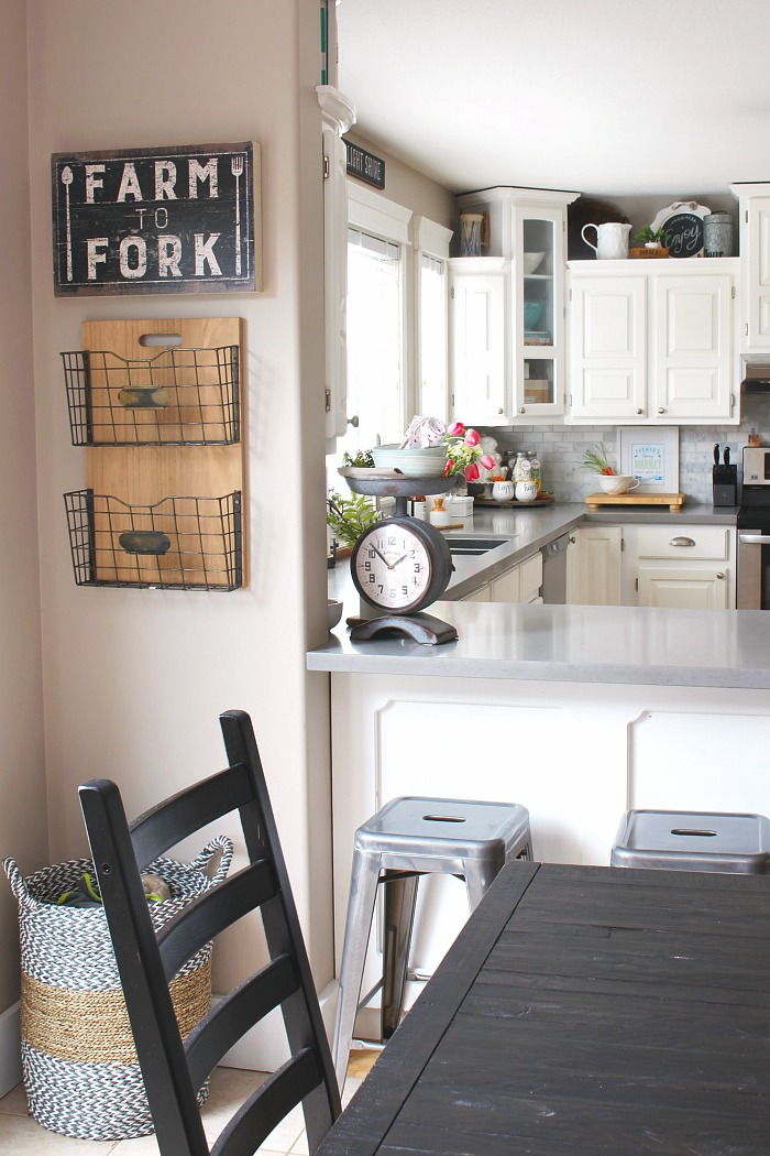 Farmhouse style kitchen decorated for spring.