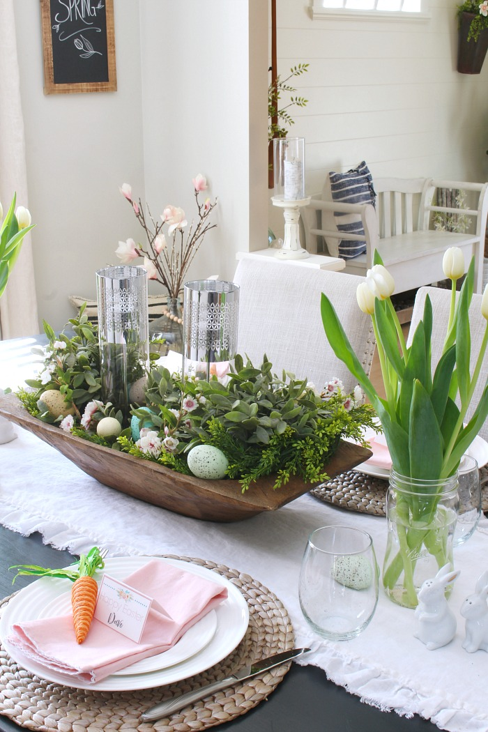 Farmhouse table set for Easter.