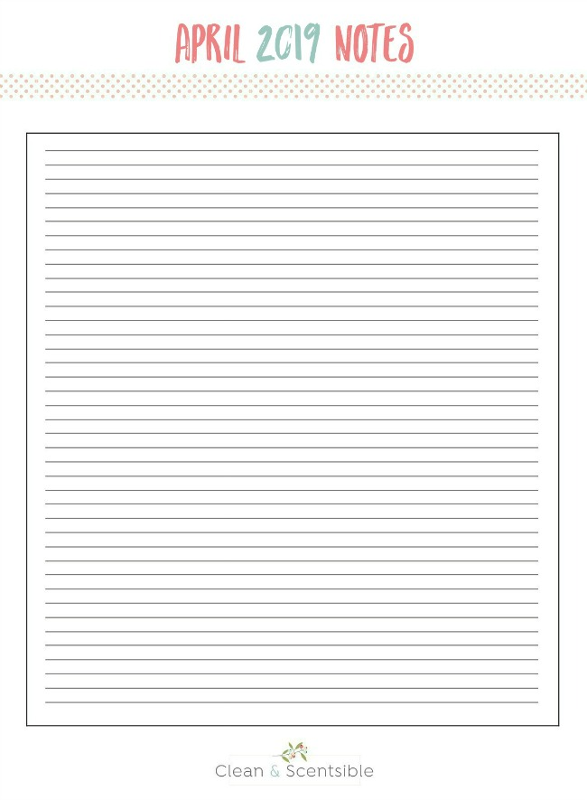 Blank April notes sheet for The Household Organization Diet.