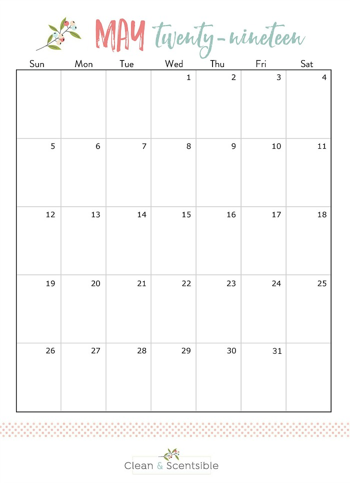 Free printable May calendar as part of The Household Organization Diet.