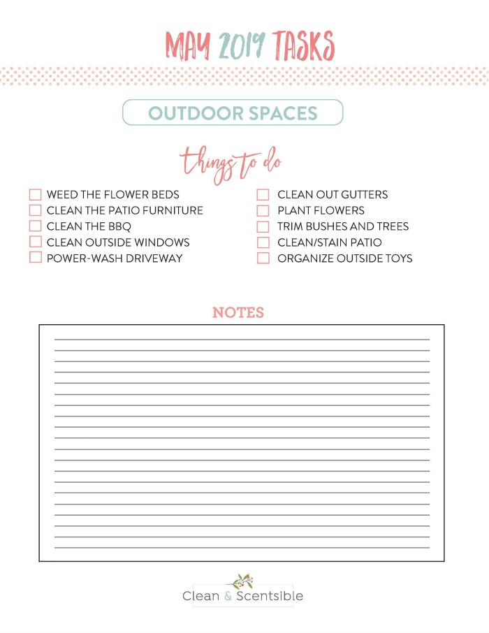 Free printable task list to get your yard ready for spring and summer.