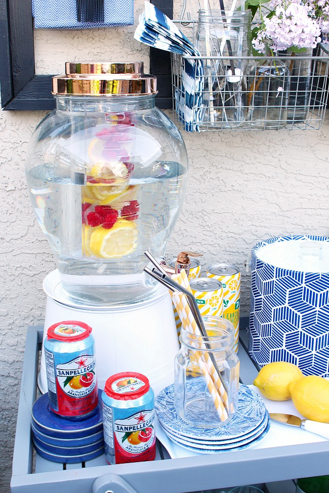 Fruit infused water and styled outdoor beverage cart.
