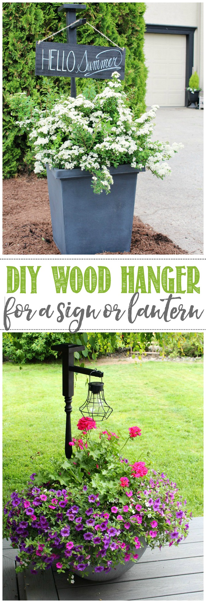DIY wooden holder in a planter used to hang a wooden sign or hanging solar lantern.