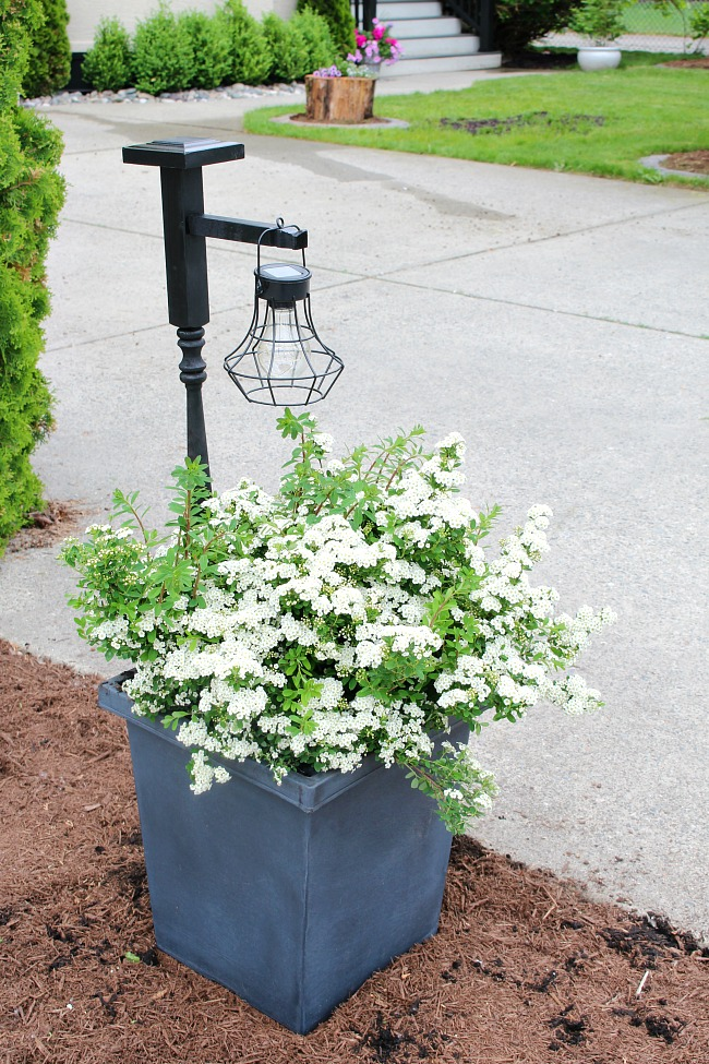 Flower planter with DIY wooden holder and hanging lantern.