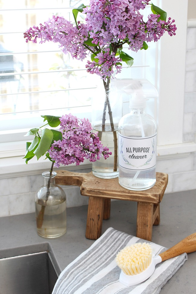 Glass spray bottle with free printable cleaning label on wooden stand.