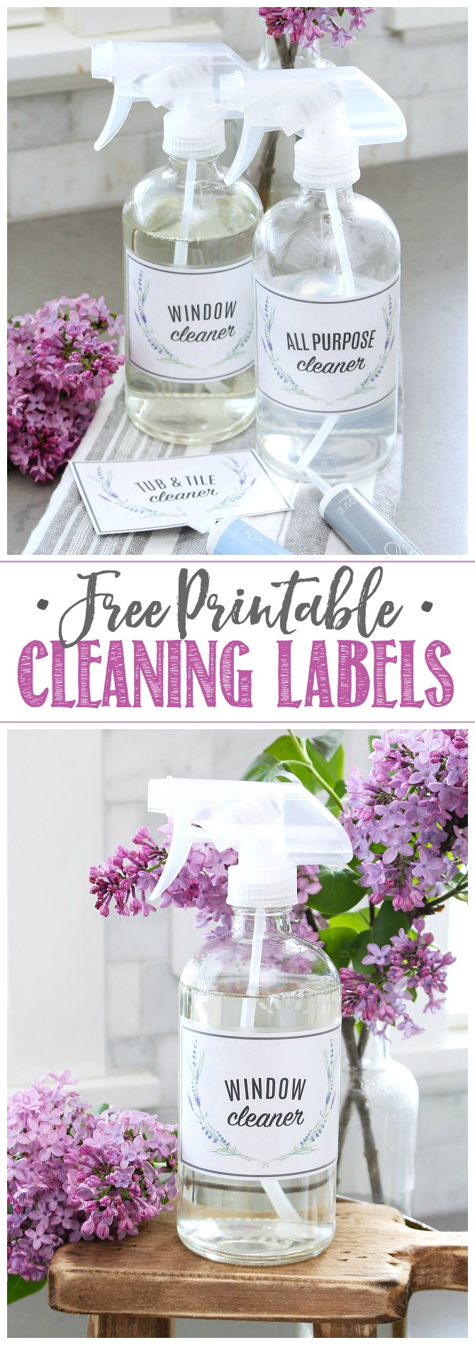 Cleaning products in clear glass spray bottles with free printable cleaning labels.