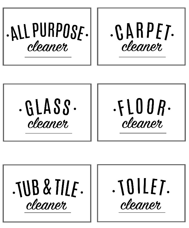 Free printable cleaning labels.