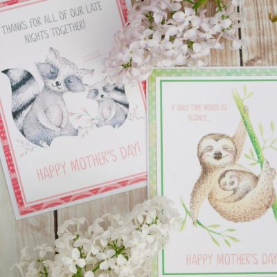 Free printable Mother's Day cards with watercolor animals.