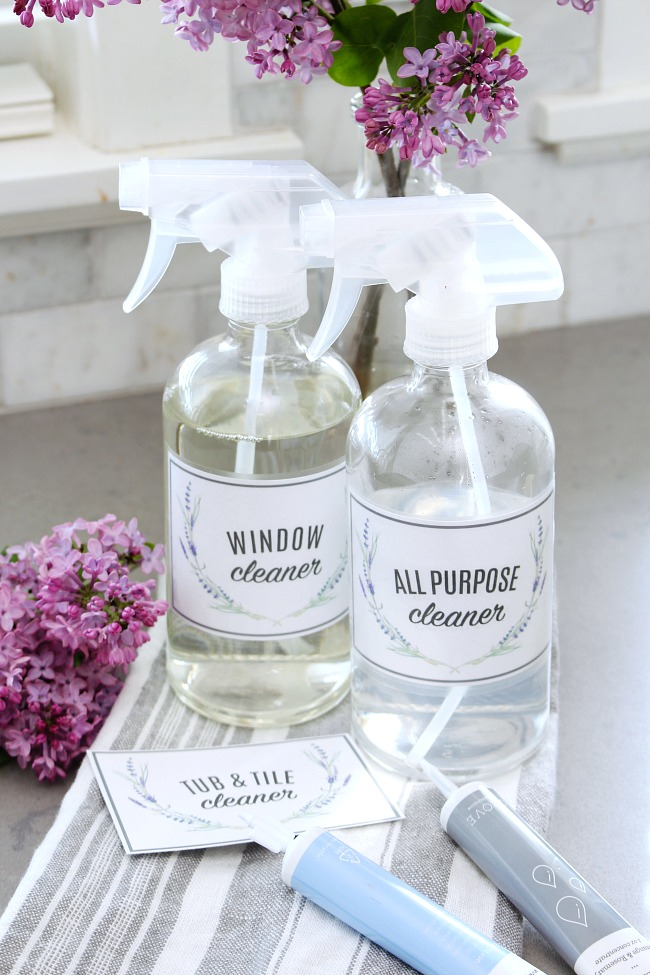 Glass spray bottles with free printable cleaning labels.