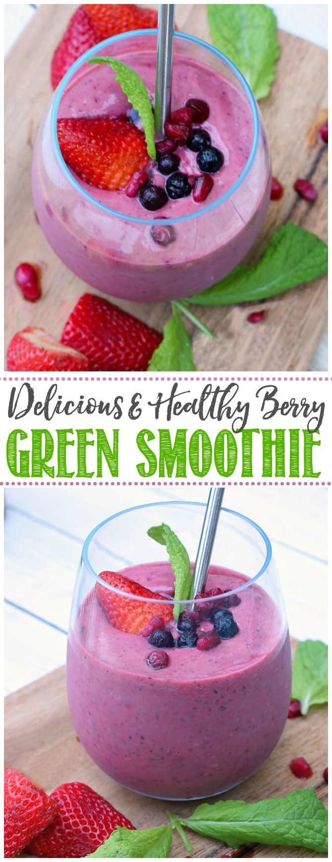 Berry green smoothie with blueberries, strawberries, pomegranate seeds for garnish.