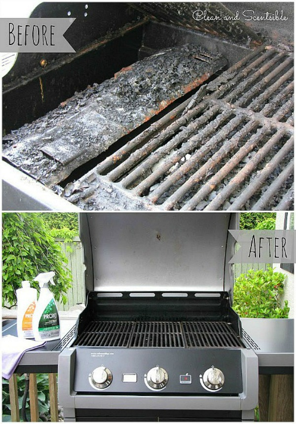 Before and after photo of a clean BBQ.