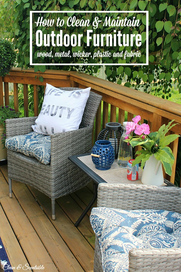 Summer patio with wood deck and wicker chairs.