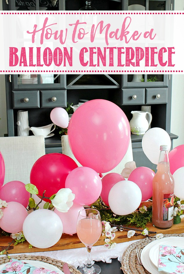 Pink and white balloon centerpiece for Mother's Day.