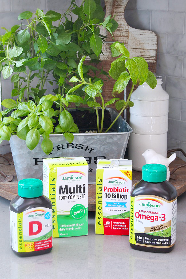 Jamieson vitamins - probiotics, Omega-3, Vitamin D, and Multivitamins.