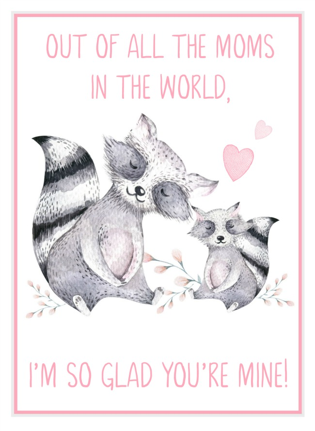 Free printable Mother's Day card with watercolor racoons.