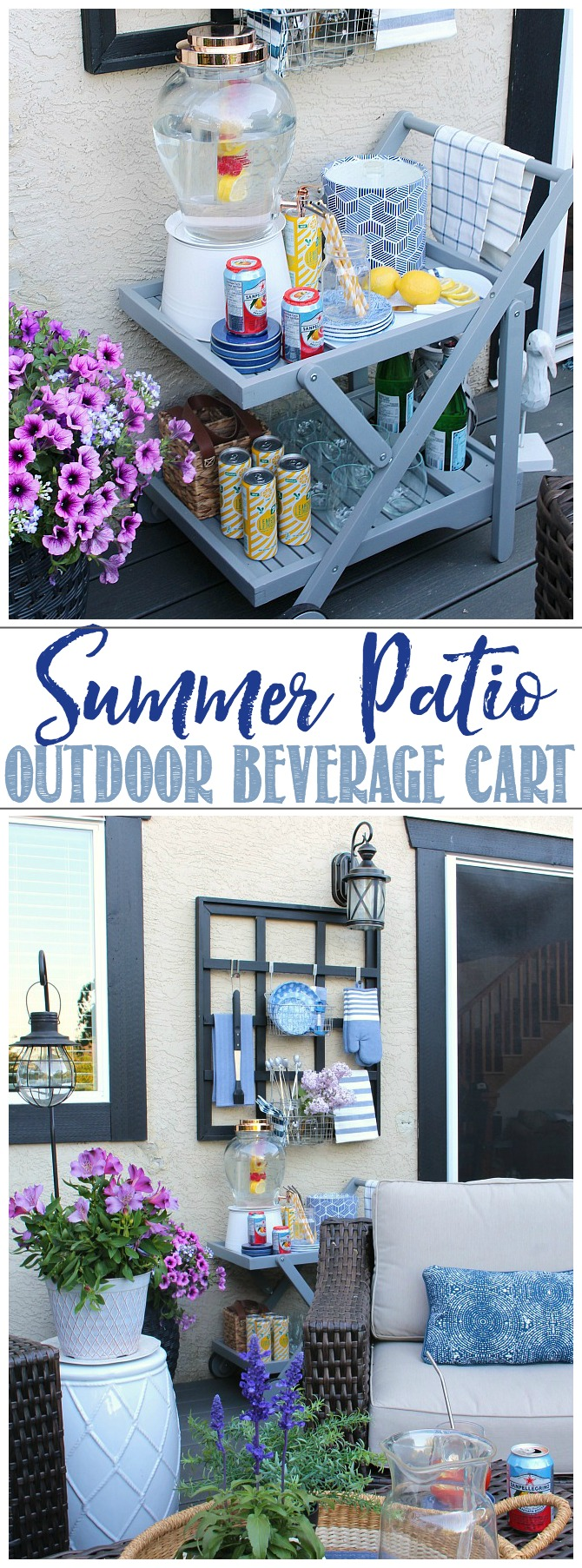 Styled outdoor beverage cart.