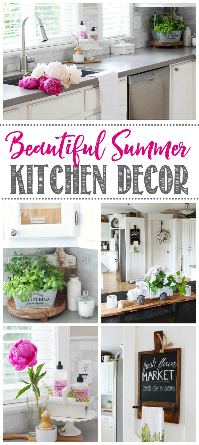 Collection of summer decor ideas for the kitchen.