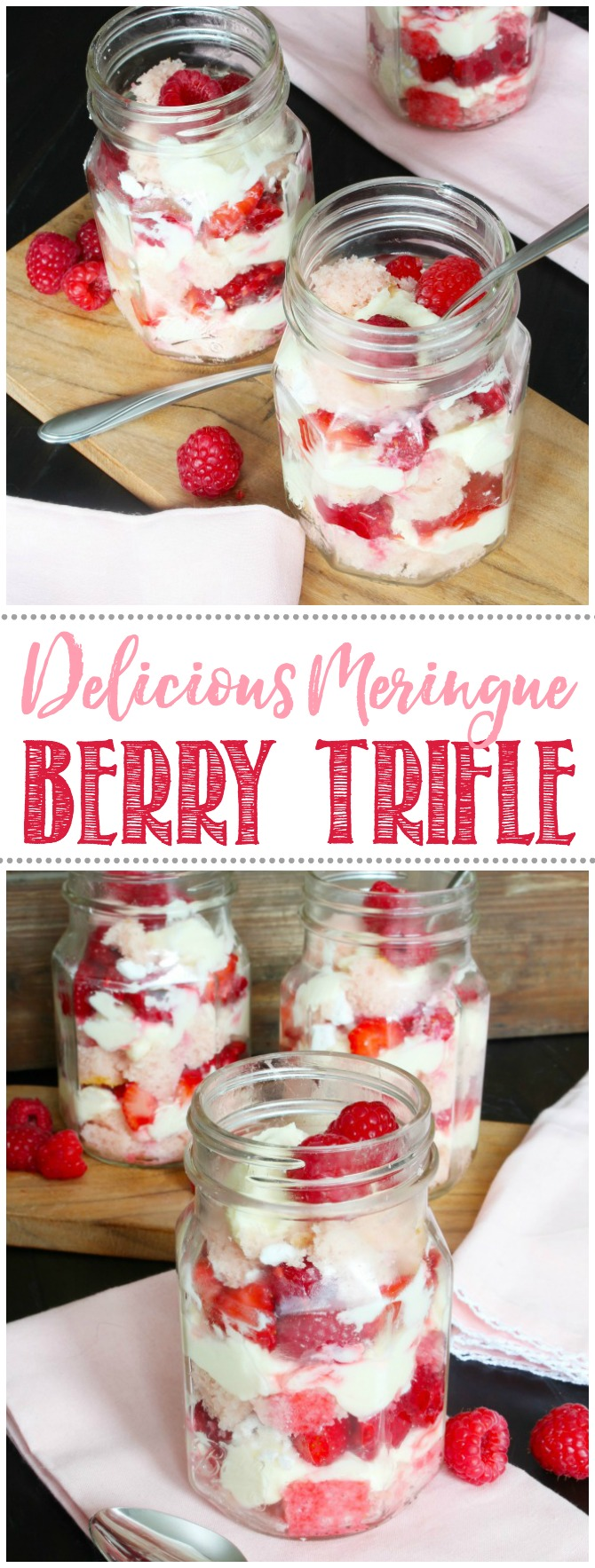 Berry meringue trifle in mason jars.
