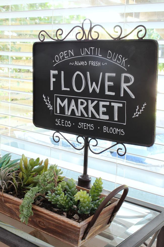 Flower market chalkboard art.